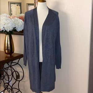 Gray open front duster cardigan sweater